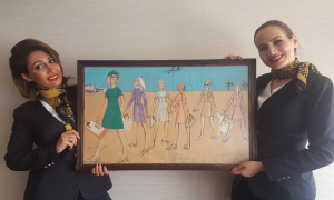 Original 1960's Gulf Air Uniform Sketch Donated to the Airline